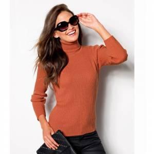 Talla 38-40 (S) - Jersey de tricot con cuello cisne Color calabaza Talla 32 (Ref.056970) (Últimas Unidades)