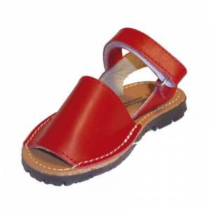Roja - Avarca - Menorquina piel niño Roja Talla 25