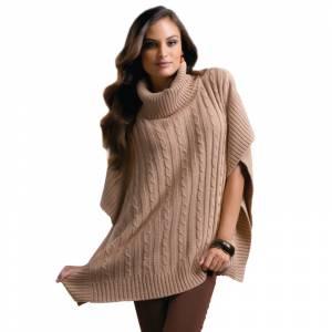 Talla 42-44 (M) - Poncho tricot con trenzas Color marrón claro Talla M (Ref.089712) (Últimas Unidades)