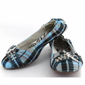 Tallas 35-39 - Manoletina Escocesa de cuadros azules Talla 38 (PDE) (Últimas unidades)